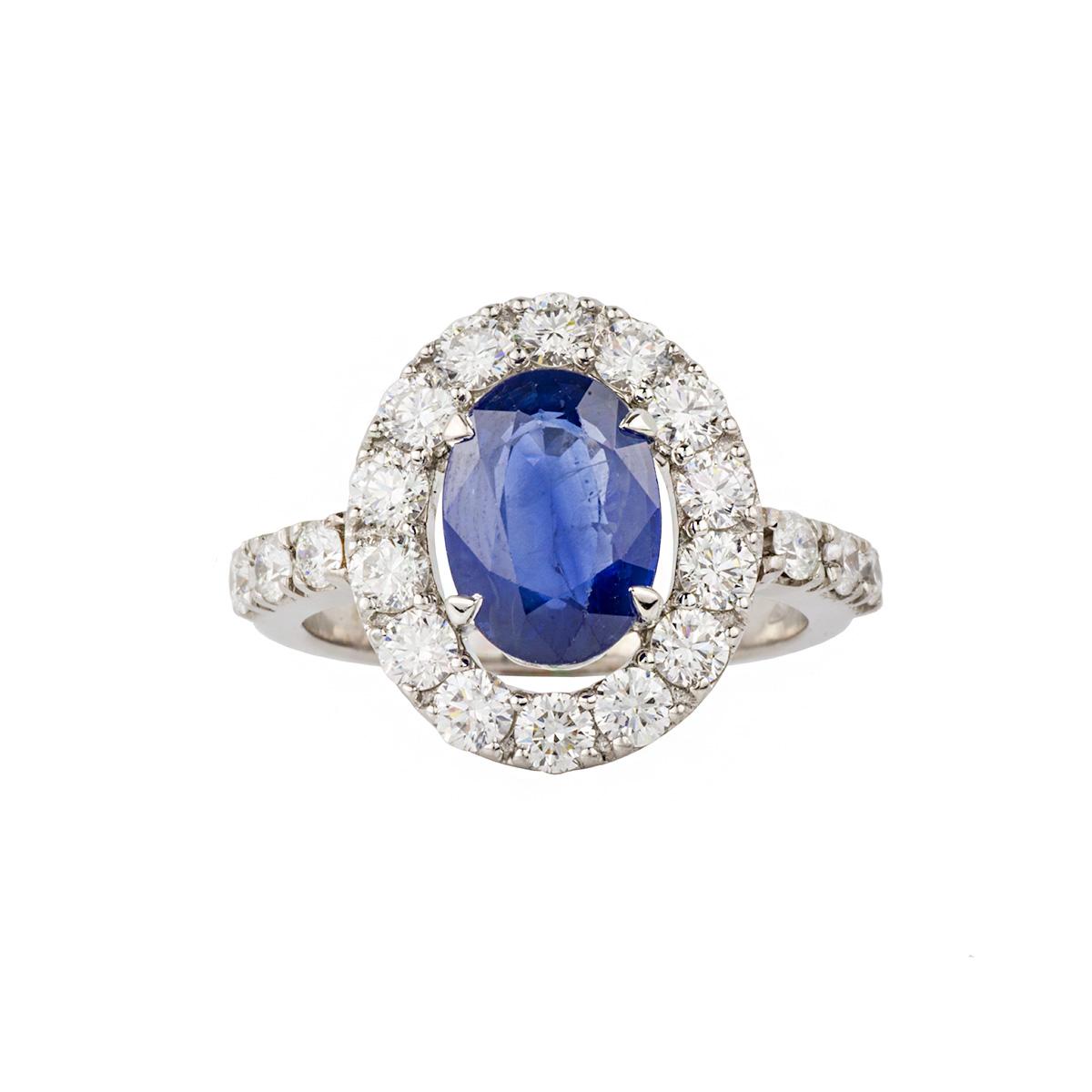 18k White Gold Sapphire And Diamond Dress Ring Rich